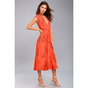 Free People orange floral midi dress